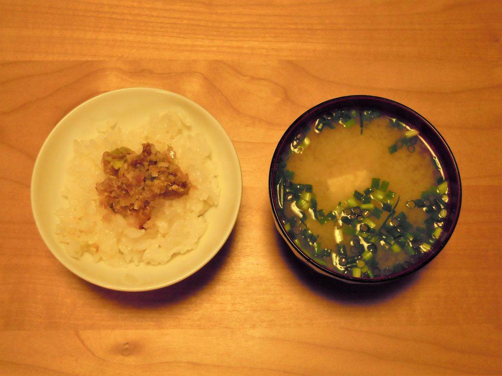 なめろうご飯とアラ出汁の味噌汁
