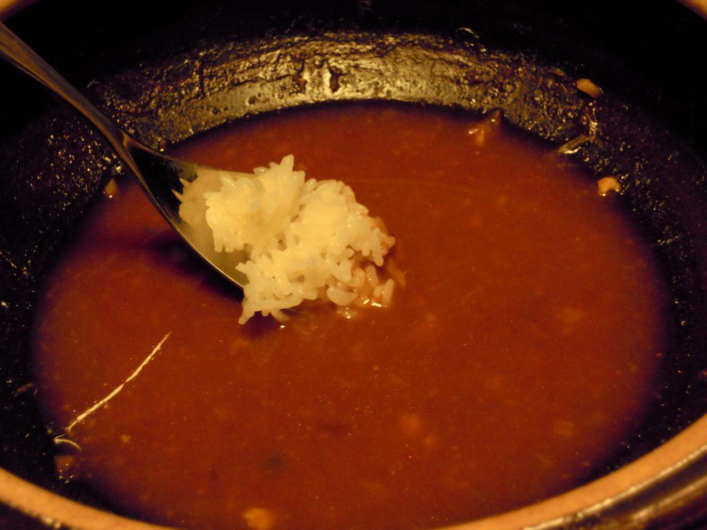 チゲ鍋の〆のごはん